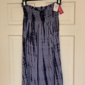 Velvet tie-dye strapless cover-up dress